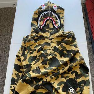 BAPE 1st Camo Shark Full Zip Hoodie Yellow